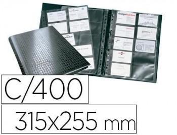 Tarjetero durable din a4 visifix centium 4 anillas 20 fundas con indice alfabetico para 400 tarjetas