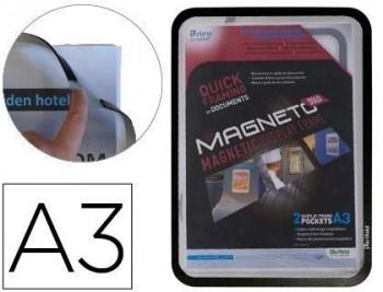 Marco porta anuncios tarifold magneto din A3 con 4 bandas magneticas en el dorso color negro pack de