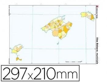 Mapa mudo color din a4 islas baleares politico