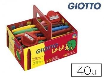 Lapices cera giotto bebe super schoolpack de 40 unidades + 2 sacapauntas