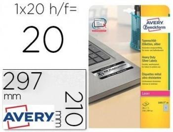 Etiqueta adhesiva avery poliester plata 210x297 mm para impresora laser pack de 20 unidades