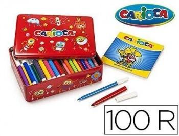 Rotulador carioca color kit caja metalica de 100 unidades surtidas + album colorear