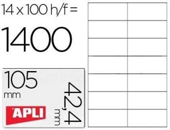 Etiqueta adhesiva apli 1277 tamaño 105x42.4 mm -fotocopiadora -laser e inkjet-caja con 1400 etiqueta